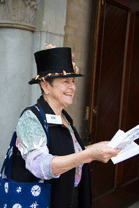 Visitors are welcomed with a Mad Hatted Greeter.