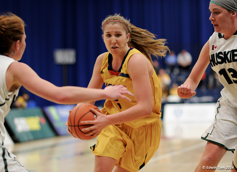 Game 2 of the 2014 CIS Women's Basketball Championships held at the University of Windsor, Windsor, Ontario, Canada. Game 2 - Saskatchewan Huskies versus the Queens Gaels on March 14, 2014. Saskatchewan won 61 to 52.