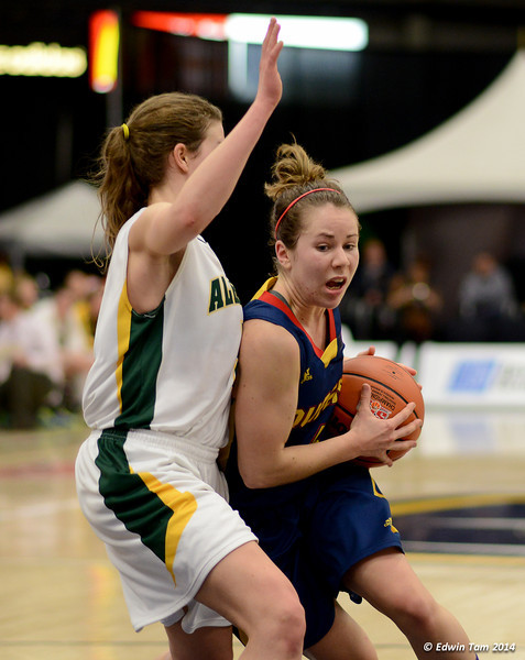 Game 5 of the 2014 CIS Women's Basketball Championships held at the University of Windsor, Windsor, Ontario, Canada. Queen's Gaels versus the University of Alberta Pandas on March 15, 2014. The Pandas trailed early on, but won 67 to 55.