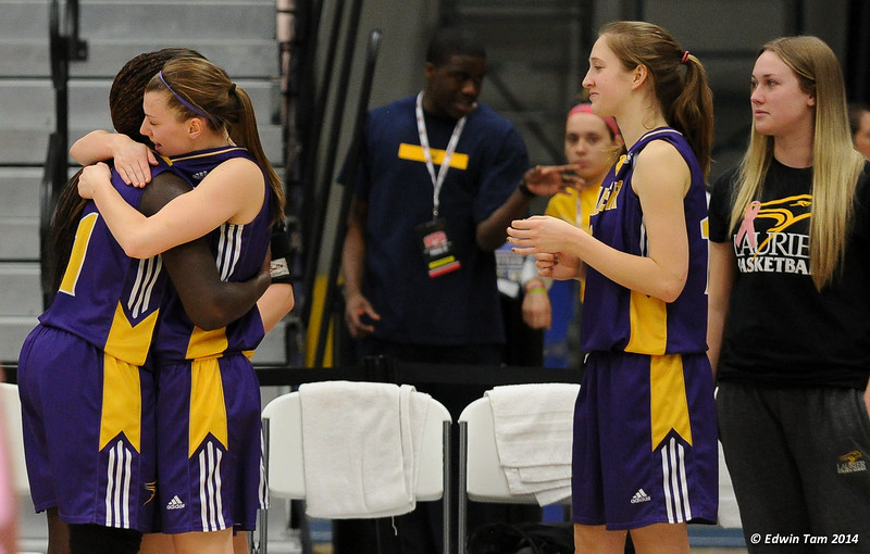 Game 6 of the 2014 CIS Women's Basketball Championships held at the University of Windsor, Windsor, Ontario, Canada. McGill Martlets<br /> versus the Laurier GoldenHawks on March 15, 2014. McGill won 58 to 51.