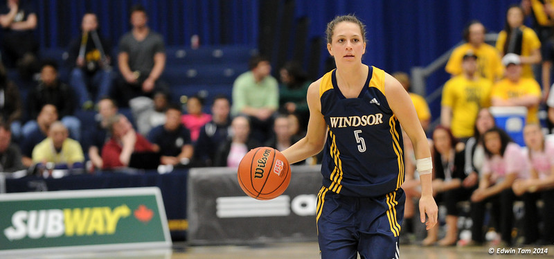 Game 8 of the 2014 CIS Women's Basketball Championships held at the University of Windsor, Windsor, Ontario, Canada. Fraser Valley Cascades vs Windsor Lancers in Semifinal 2 on March 15, 2014. The game was a tough match, and the Lancers struggled by the first half. In the second, the Lancers pulled ahead and won 65 to 45.