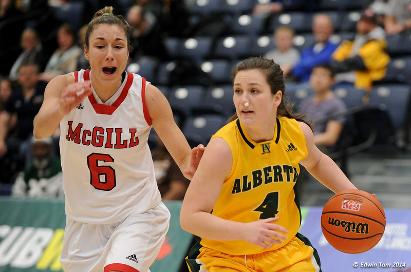 Game 9 of the 2014 CIS Women's Basketball Championships held at the University of Windsor, Windsor, Ontario, Canada. UAlberta Pandas vs McGill Martlets in the Consolation Final on March 16, 2014.