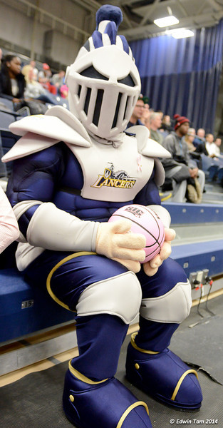 Mens Basketball Lancers vs Brock Badger at St. Denis Centre, University of Windsor on January 18, 2014, Breast Cancer Awareness Day.