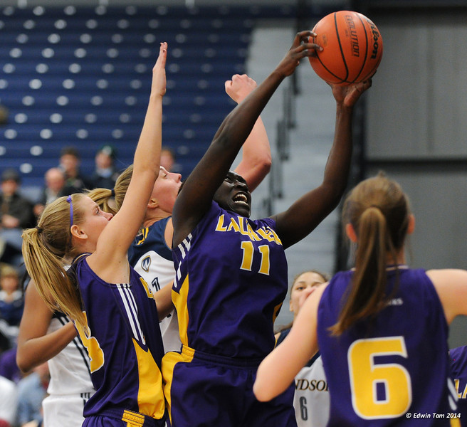 OUA West Women's Basketball Final: Laurier Goldenhawks vs Windsor Lancers on March 1, 2014 at the St. Denis Centre, University of Windsor. The Lancers won 86 to 58. The Lancers advance to the OUA Finals.
