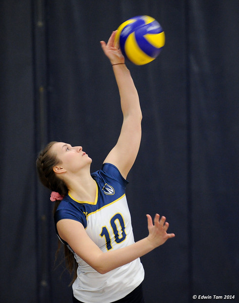 Womens Volleyball Lancers vs RMC Paladins at St. Denis Centre, University of Windsor on January 18, 2014, Breast Cancer Awareness Day.