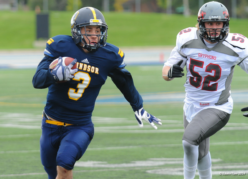 UWindsor Lancers vs Guelph Gryphons at the University of Windsor Homecoming Weekend on October 4, 2014. The Gryphons won 24 to 9. Copyright Edwin Tam 2014.