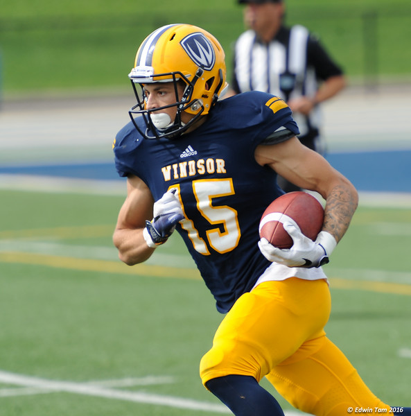 UWindsor Lancers vs Toronto Blues in OUA football action on Alumni Weekend, October 1, 2016 at Alumni Field, University of Windsor.  The Lancers won 50 to 31! Copyright Edwin Tam 2016.