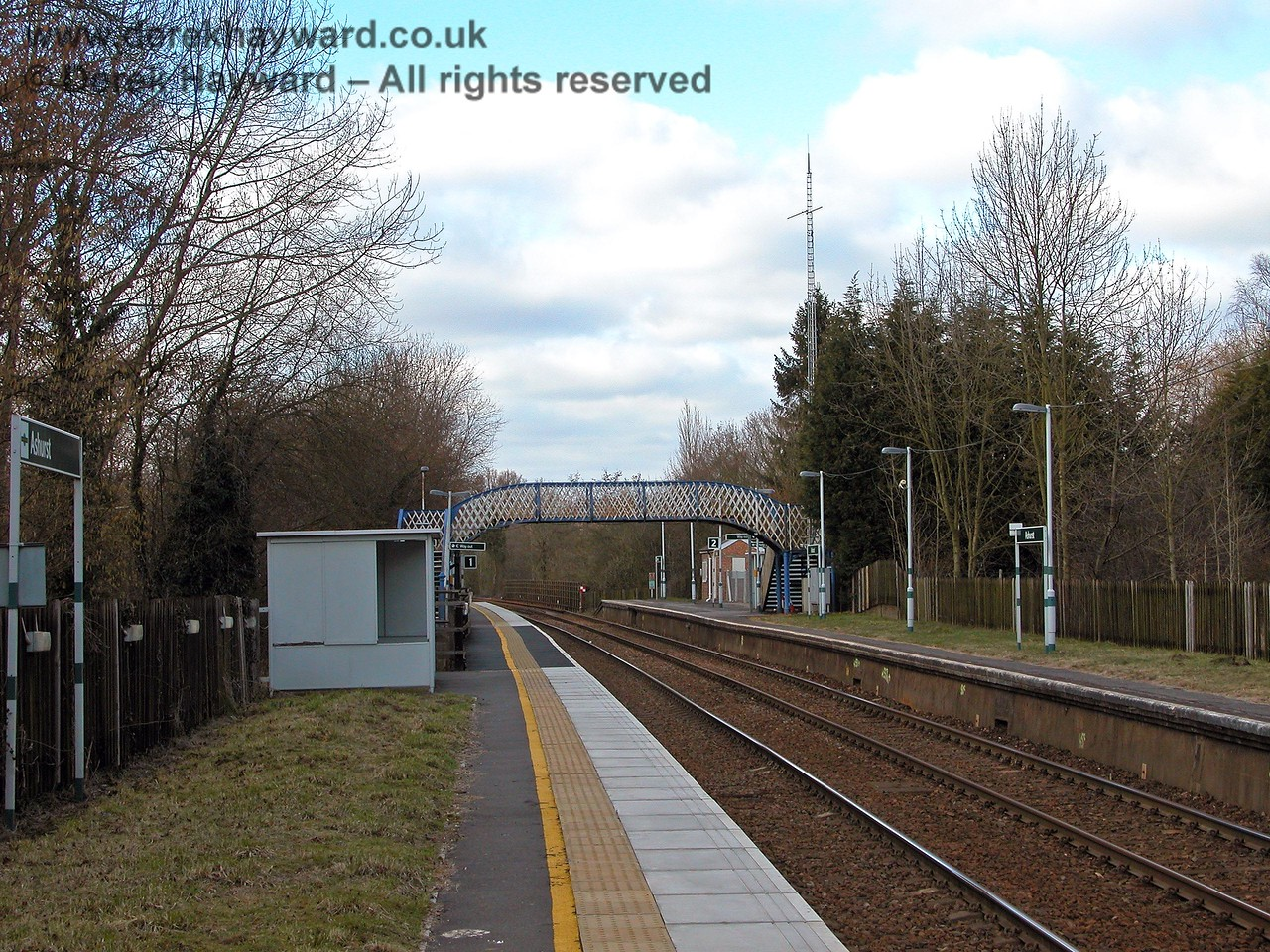Another view north from the northbound platform, with the Cab Secure Radio mast clearly shown. They have cut the grass and refurbished the platform surface. 19.03.2006