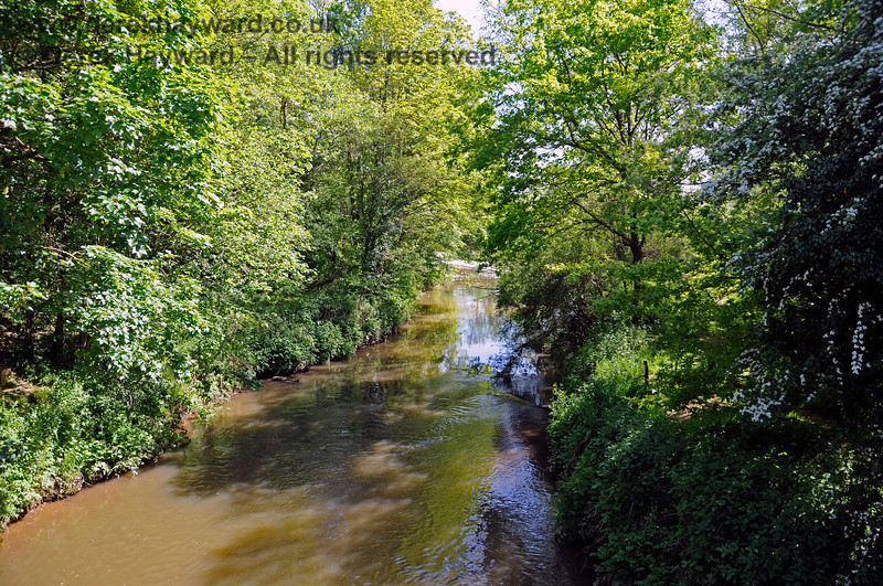 Pulling back, this is the River Medway looking south.  Directly behind the camera it passes under the A264 adjacent to the traffic lights at the road bridge previously shown. The railway embankment is on the left, but hidden by the trees.  Ashurst 30.05.2021 20787