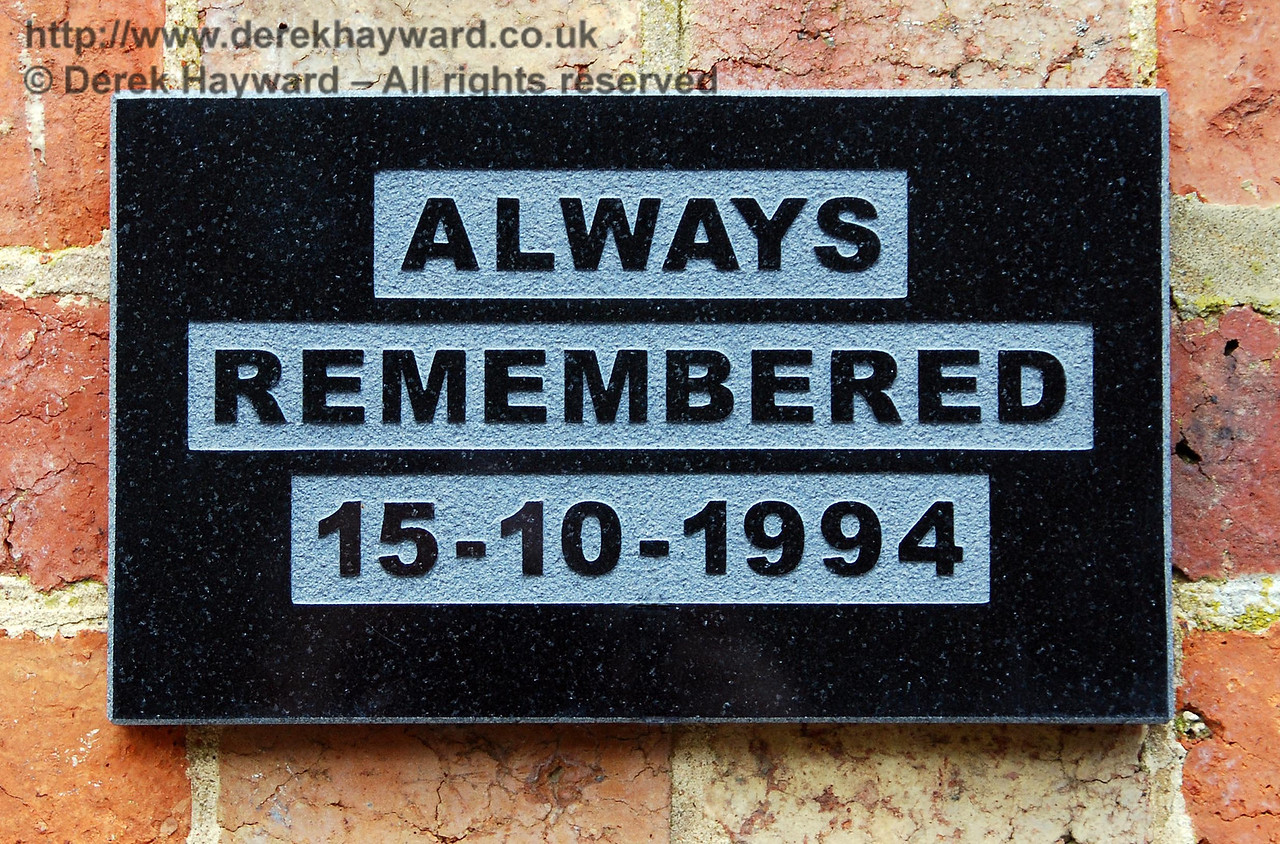 A memorial to those lost in the Cowden rail accident has been erected in recent years.  This small plaque is on the wall of the station building at the southern end of the station.  Presumably for reasons of passenger sensitivity the wording does not refer directly to the accident, but the message is nevertheless entirely appropriate. 09.04.2008
