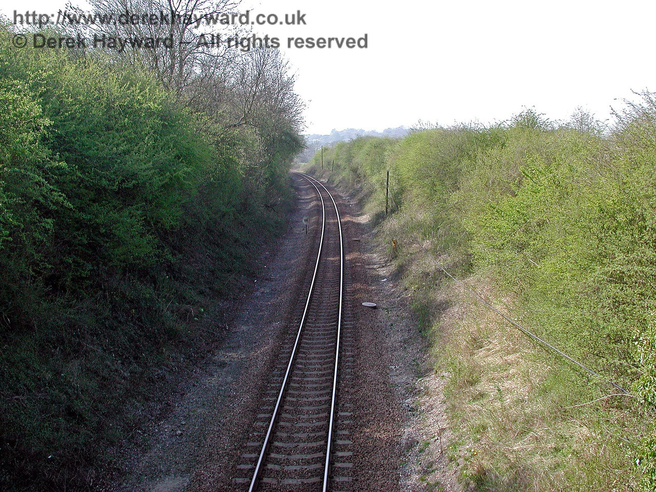 Looking north towards Cowden from the second overbridge south of Cowden (Marchants Bridge). 18.04.2003