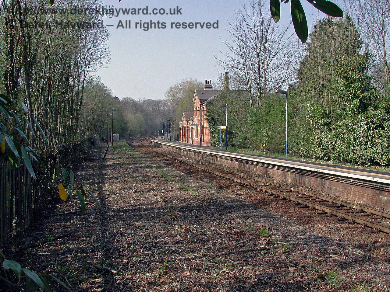 Cowden station looking north from the southern end of the abandoned northbound platform. 18.04.2003