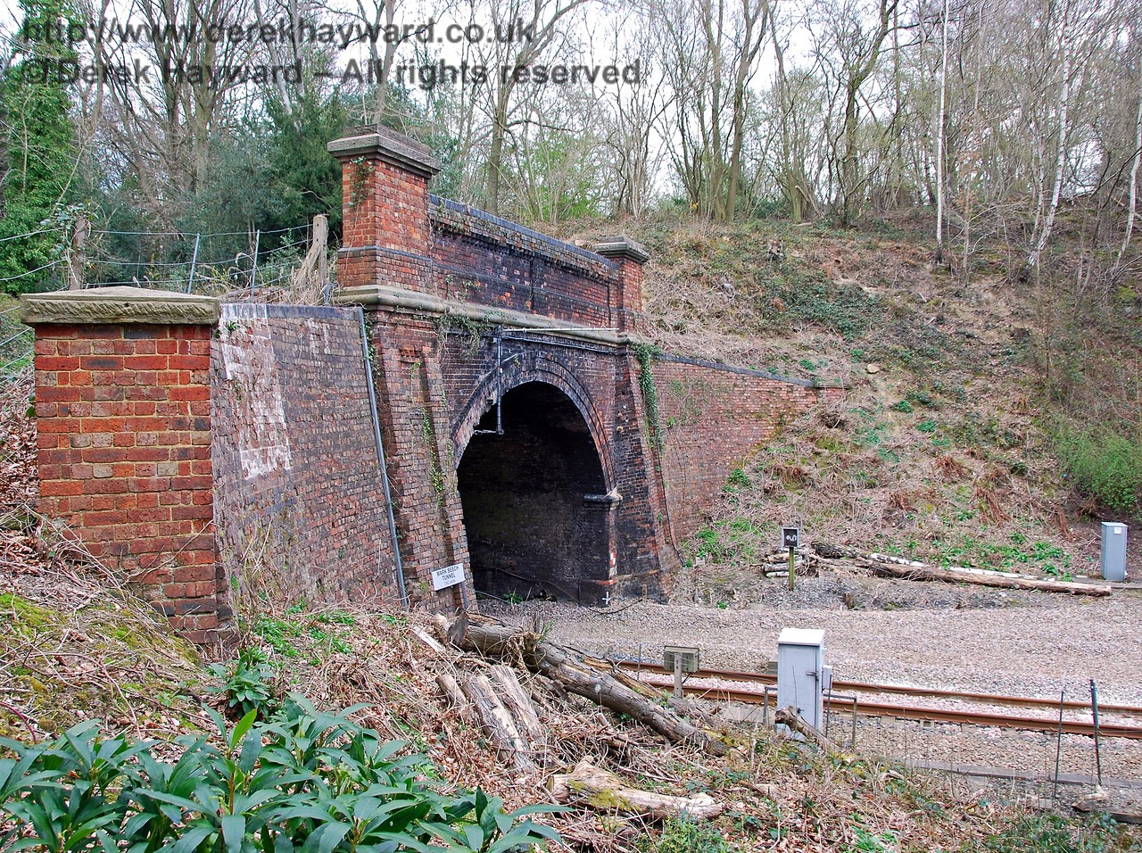 A second view of the southern portal of Markbeech Tunnel. Radio antennas for the Cab Secure Radio system can be seen attached to the roof of the tunnel. 10.04.2008