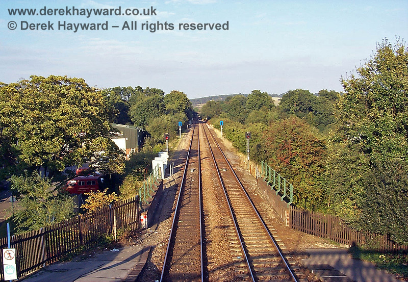 Looking north from Crowborough Station towards Eridge. Just north of the station there is a single line section which extends through Eridge to Ashurst. 19.09.1998