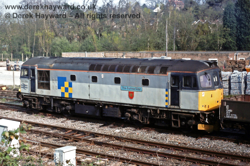 33056 'The Burma Star' on an engineering dept  train in the yard at Crowborough, Sat  21 04 1990 E