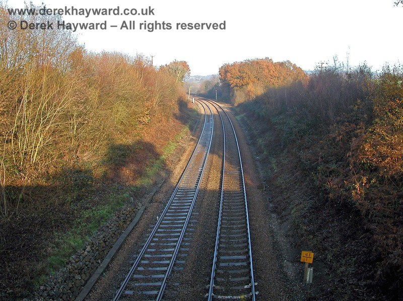An overbridge at Fordbrook Farm provides this view north towards Crowborough Tunnel and Crowborough Station. 07.12.2005