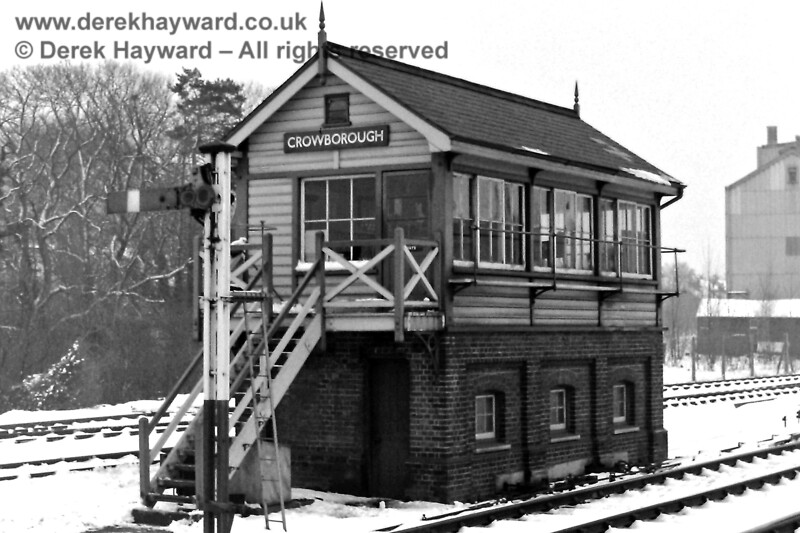 Crowborough signal box and Down Starting Signal, Sun  15 02 1970 E