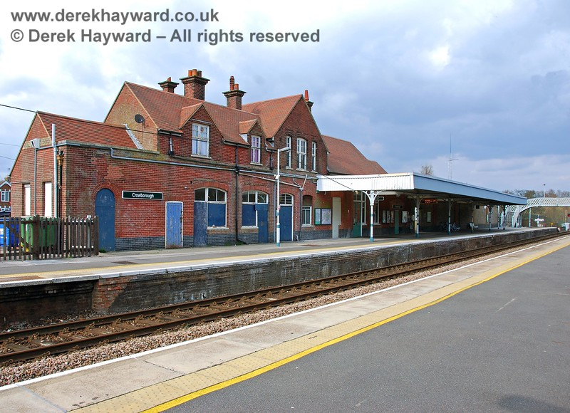 A view north showing the main building at Crowborough Station. The canopy originally extended to the end of the building. 10.04.2008