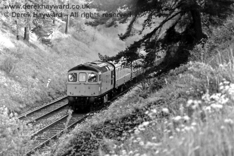 33053 leaving Crowborough tunnel as it heads the 19 12 ex Uckfield to Oxted, Wed  21 05 1975 E