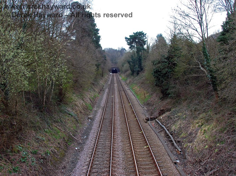South of Crowborough goods yard, trains run south towards Crowborough Tunnel, seen here looking south from Tunnel Bridge. 10.04.2008