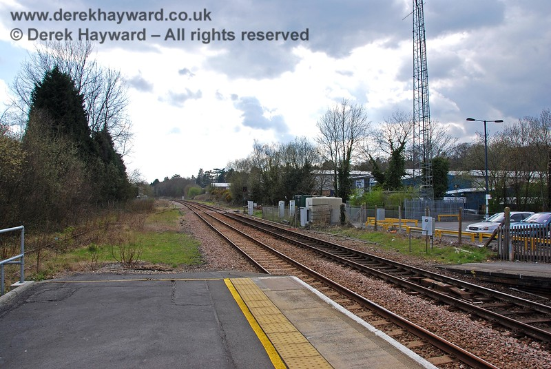 A view south from the southbound platform at Crowborough Station. A signal box stood at the end of this platform and on the right the land was formerly a goods yard. 10.04.2008