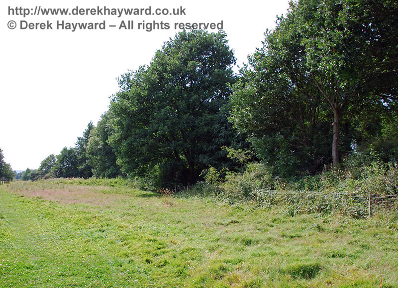 This view of the railway embankment looks west from the south side of the trees that enclose the farm track. 27.07.2008