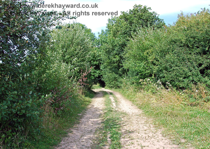 As the track draws close to the River Ouse the wide bridleway turns north west and the route of the railway heads east into a narrow tunnel of undergrowth. The 1899 map shows a siding sweeping off to the right at this point, serving Barcombe Flour Mill.  There is nothing to be seen at ground level, but the route of the siding track bed can still just be made out on Google Earth. The former mill building survives, but cannot be seen from the bridleway. 27.07.2008