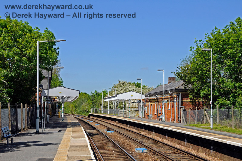 Looking north from the southern end of the original northbound platform at Edenbridge Town station. 30.05.2021 20737