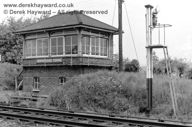 Edenbridge Town signal box and Down Starting signal, pictured on 24.05.1969.  Eric Kemp retains all rights to this image.