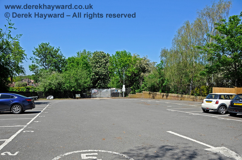 Looking north through the car park at Edenbridge Town station. As you deposit your car, please bear in mind that you are parking in the former Station Master's garden.  30.05.2021 20729