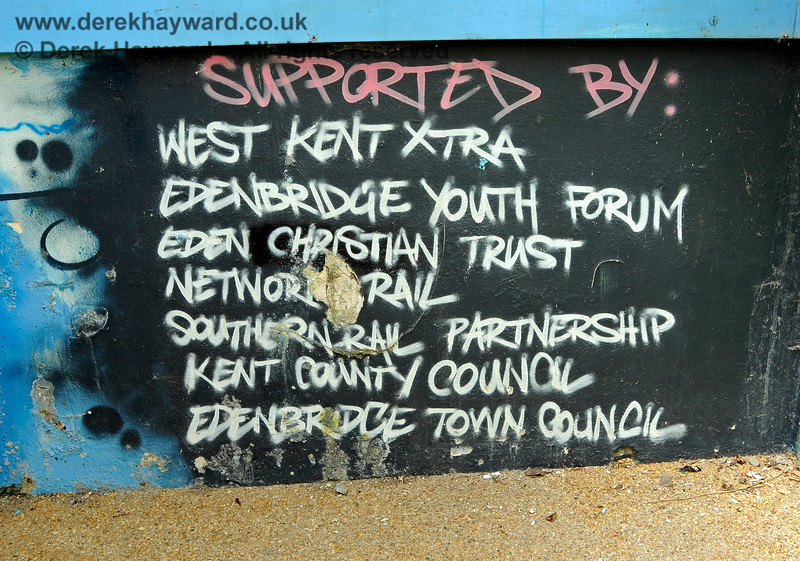 The subway at Edenbridge Town station has been painted by a number of artists.  This  is the Supporters list. 30.05.2021 20751