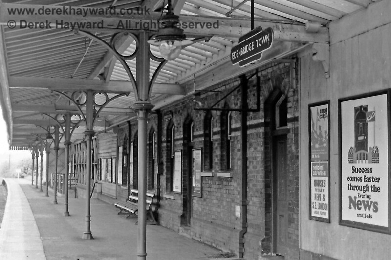 Under the canopy on the Edenbridge Town Down platform on 24.05.1969.  In those years the canopy extended further south.  Eric Kemp retains all rights to this image.