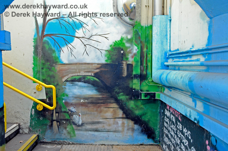 The subway at Edenbridge Town station has been painted by a number of artists.  This is the nearby river. 30.05.2021 20749