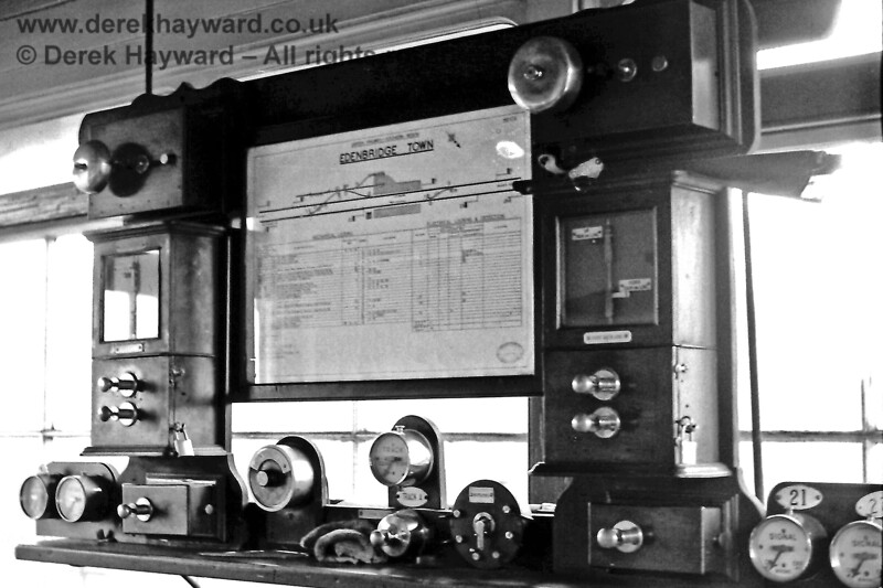 Inside the signal box at Edenbridge Town on Sunday 19.04.1970.  Eric Kemp retains all rights to this image.