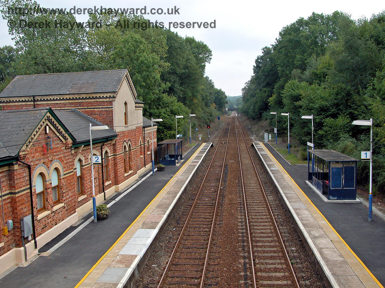 A view south from Hever taken from the station footbridge before the lamps and shelters were repainted. 18.09.2003