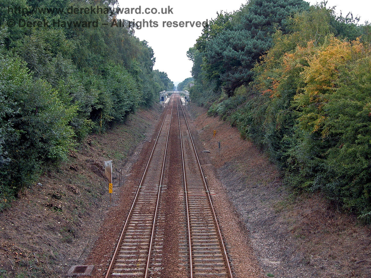 Looking north back towards Hever station from the bridge seen in the distance in the previous photograph. 18.09.2003