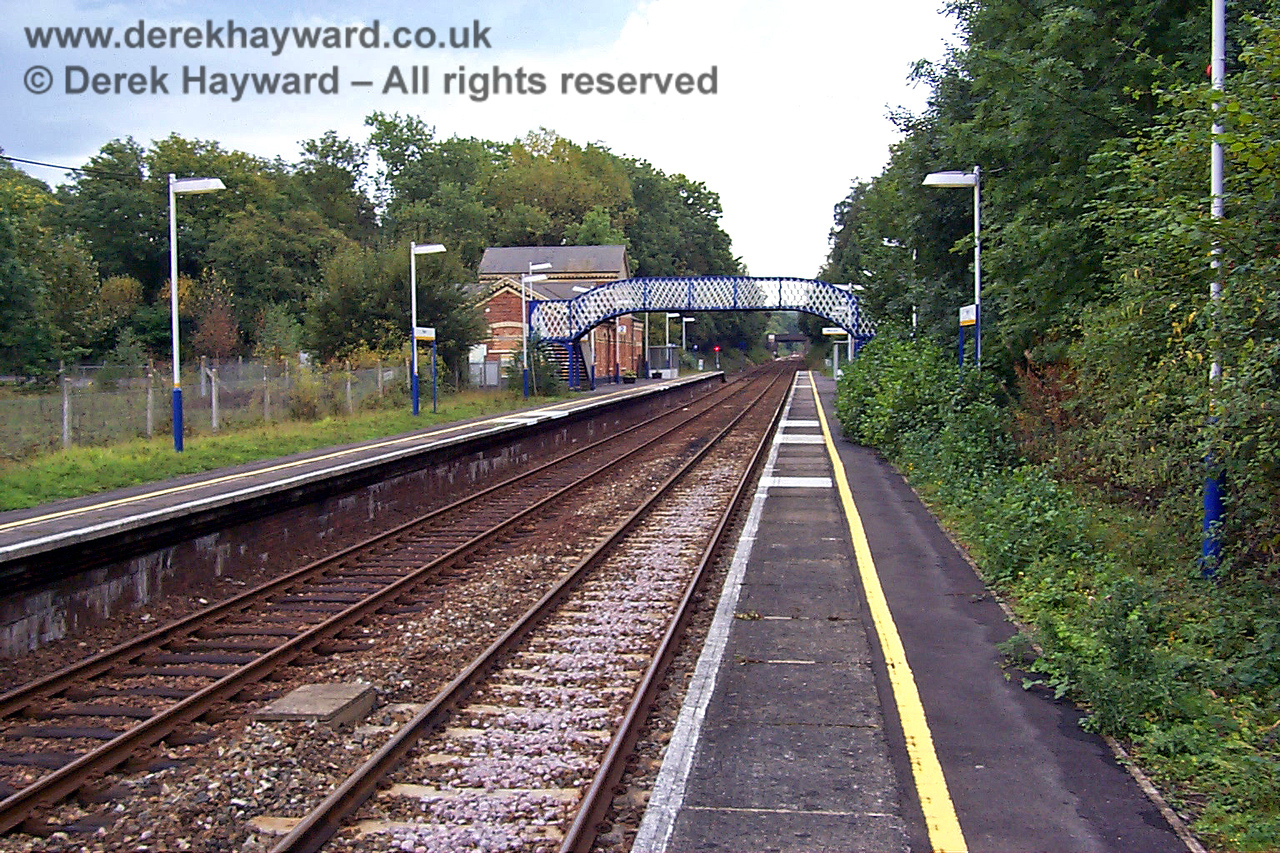 Looking south along the Hever station platforms from the north end. There was originally a canopy on each platform. 27.09.1998