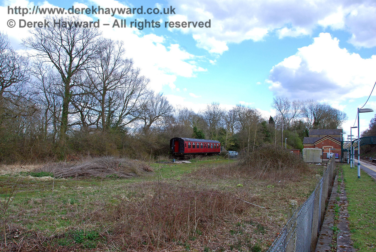 The site of Hever Station goods yard looking south.  The coach in the distance is featured in the next picture. 09.04.2008