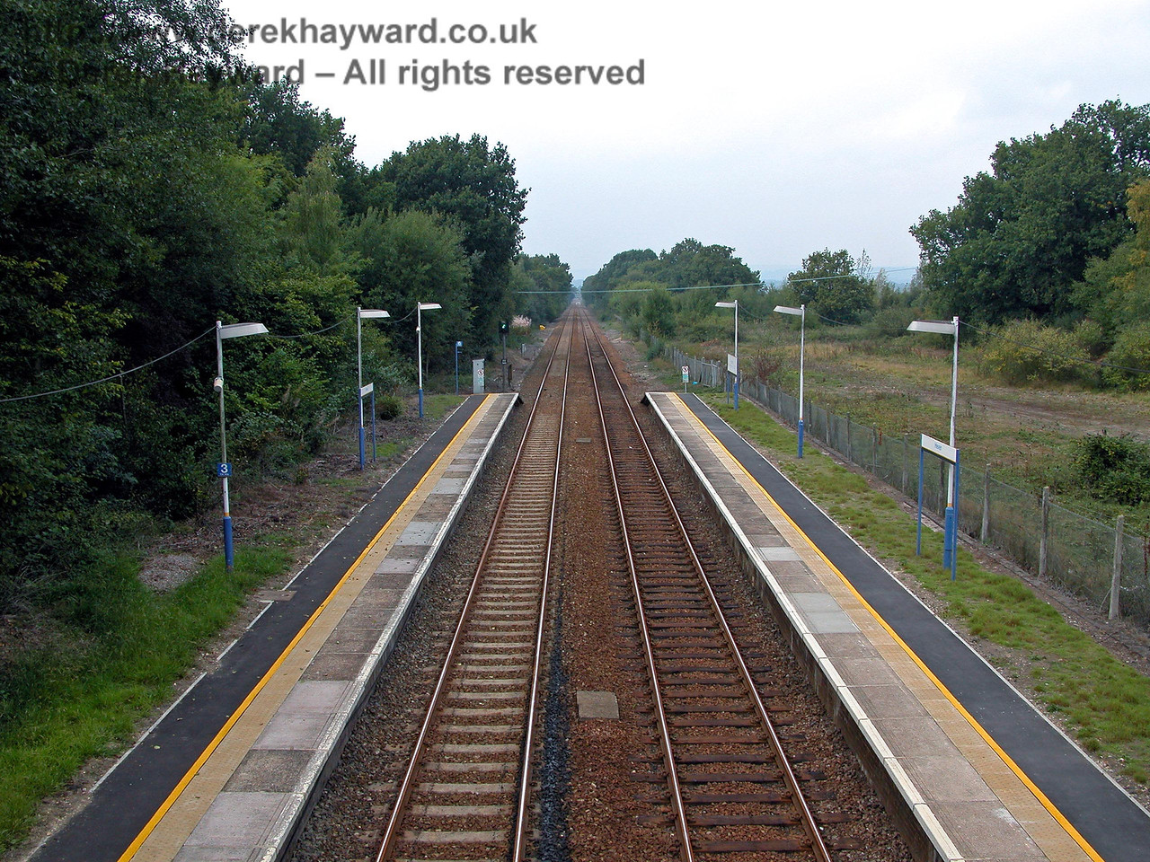The same shot north from Hever station as the previous picture but with a wider camera angle showing the refurbished platforms. 18.09.2003