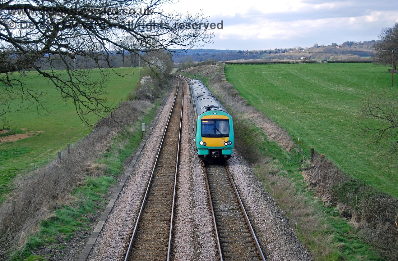 171801 travels south towards the site of the halt en route to Edenbridge Town and Uckfield. 09.04.2008