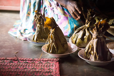Moses' aunt prepared chicken steamed in banana leaves