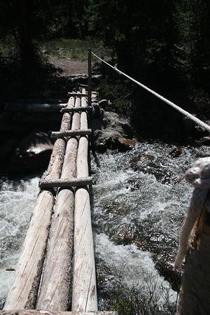 Terrifying Foot Bridge over Raging Water