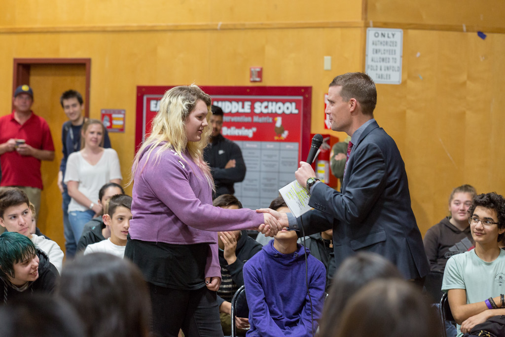 . Senator McGuire teaches a student about knocking on doors and how to ask for votes during the election process. Chris Pugh-Ukiah Daily Journal.