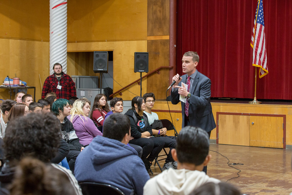 . Students from the class wrote and submitted bills to Senator McGuire who gave his feedback during the assembly Friday morning. Chris Pugh-Ukiah Daily Journal.