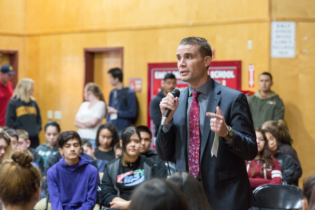 . On Friday, February 2, 2018, Senator Mike McGuire spoke to the eighth-grade class at Eagle Peak Middle School about the legislative process. Chris Pugh-Ukiah Daily Journal.