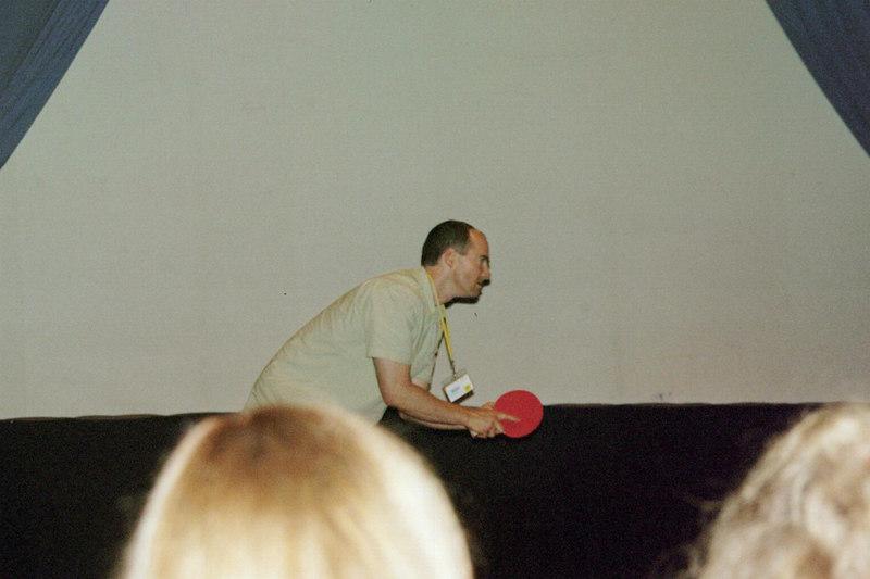 """Brian doing """"kung-fu"""" ping-pong"""