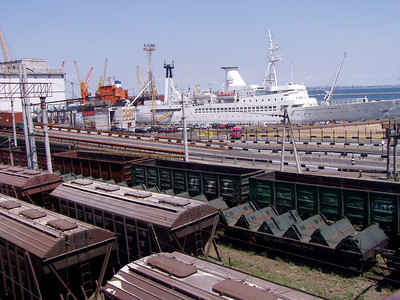 Railroad Cars and Cargo Ship in Odessa