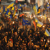 A torchlight march on the birthday of revolutionary nationalist Stepan Bandera -