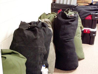 We packed ten duffle bags weighing 50-64 pounds each