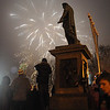 New Year's Eve 2010 in Odessa - Primorsky Blvd. - Potempkin Steps - Duke of Richelieu and fireworks